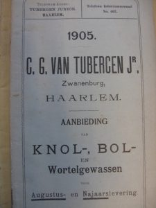 Omslag catalogus van C.G. van Tubergen uit 1905